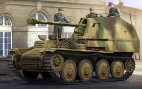 Картинка рисунок, вермахт, самоходная артиллерийская установка, Marder III, немецкая противотанковая САУ