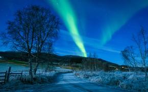 Обои Kvæfjord kommune, небо, Норвегия, Тромс, Квефьорд, Troms, Norway, дорога, деревья, северное сияние, зима