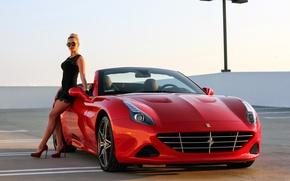 Обои девушка, Ferrari, суперкар, феррари, калифорния, California