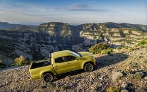 Обои камни, пейзаж, бездорожье, растительность, 2017, X-Class, жёлтый, пикап, горы, Mercedes-Benz, рельеф