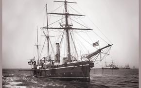 Картинка ретро, корабль, парусный, 1888 год