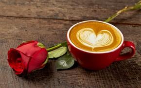 Обои rose, heart, romantic, coffee, розы, любовь, кофе, чашка, cup, love, wood, капучино, красная роза, cappuccino, ...