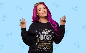 Картинка взгляд, поза, фон, спорт, Boss, рестлер, hair, WWE, Босс, Divas, Sasha Banks, Саша Бенкс