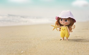 Картинка море, пляж, кукла, панама
