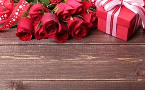 Обои beautiful, colorful, roses, бант, розы, romance, gift, день святого Валентина, романтика, Valentine's Day, подарок, лента, ...