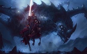 Картинка dark, fantasy, armor, eyes, wings, dragon, horse, artwork, warrior, fantasy art, Knight, spear, horn, spear …