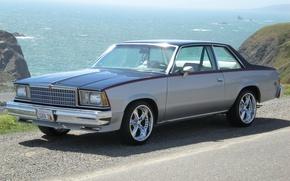 Обои солнце, лето, Speed, Chevrolet Malibu, море, 1978, асфальт, дорога, горы, Classic, фон, Body