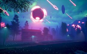 Картинка дорога, шар, дома, Environment Concept