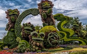Картинка зелень, животные, деревья, цветы, дизайн, парк, Канада, кусты, композиция, Ottawa, фантастические
