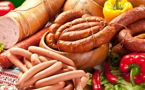 Картинка сосиски, перец, колбаса, meat, pepper, sausage