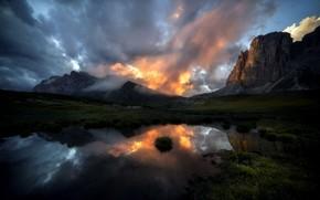 Обои горы, озеро, утро