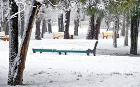Картинка деревья, скамейка, парк, winter, snow, зимний пейзаж