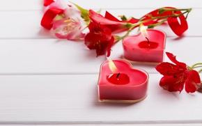 Картинка цветы, свечи, сердечки, red, flowers, romantic, hearts, Valentine's Day, candles