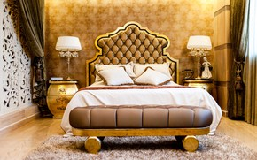 Картинка золото, кровать, особняк, роскошь, спальня, светильники