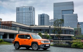 Картинка небоскребы, джип, Orange, автомобиль, Jeep, Limited, Renegade