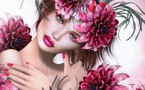 Обои лицо, глаза, помада, фон, лепестки, взгляд, цветы