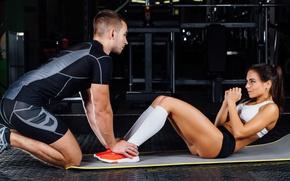 Обои abs, female, trainer, fitness