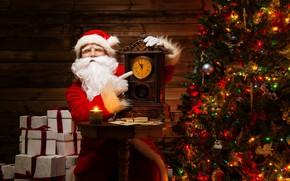 Картинка праздник, часы, елка, новый год, подарки, дед Мороз