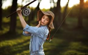 Картинка девушка, рыбак, шляпа, поплавок, удочка