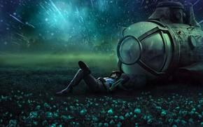 Обои спящий мужчина, светящиеся цветы, сиянье звезд, путешественник, фантазия, мечтает, ночь, подводная лодка, сон, спокойствие, отдых