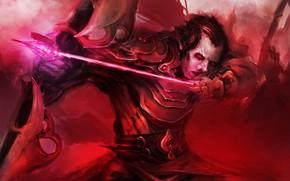 Картинка лук, red, красные глаза, theDURRRRIAN, светящиеся стрела, lefthanders