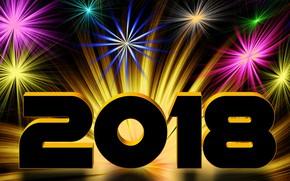Картинка фон, Новый год, фейерверк, 2018