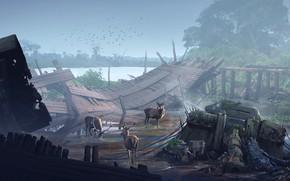 Картинка разрушения, олени, gathering, the clash between nature Vs industrialization, 4th World