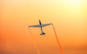 Картинка sky, flying, sunset, wings, airplane, plane, aviation, aerobatics, airshows, colored smoke, acrobatics, Glider