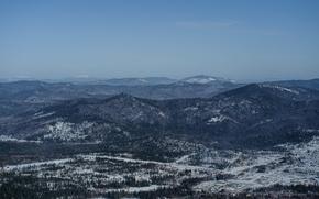 Картинка лес, небо, снег, горы, синева, горизонт, шерегеш