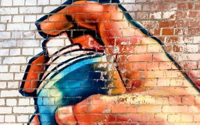 Обои краска, текстура, wallpaper., баллончик, graffiti, красивый фон, beautiful background, рука рисует, кирпичная, street art, стена, ...