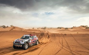 Картинка Песок, Авто, Mini, Пыль, Спорт, Пустыня, Машина, Гонка, Холмы, Rally, Внедорожник, Ралли, RedBull, X-Raid Team, …