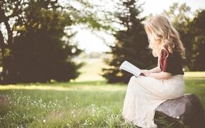 Картинка лето, девушка, природа, книга