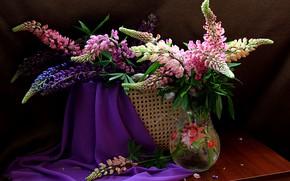 Обои цветы, натюрморт, лето, люпины, букет