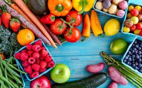 Картинка ягоды, малина, яблоко, огурец, клубника, перец, фрукты, овощи, помидор, морковь, голубика, авокадо, картофель, спаржа, фасоль