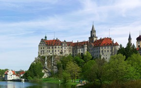 Картинка зелень, небо, деревья, пейзаж, река, замок, Германия, Sigmaringen Castle