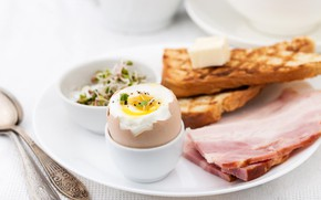 Картинка яйцо, завтрак, ветчина, тост