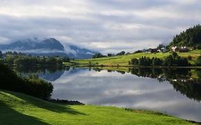 Картинка лето, пейзаж, утро, Норвегия