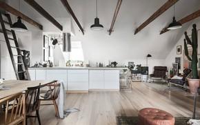 Картинка interior, kitchen, scandinavian design, dining area