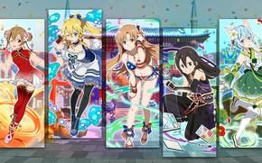 Обои арт, коллаж, девушки, аниме, Sword Art Online