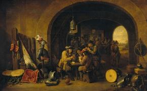 Картинка масло, картина, холст, Давид Тенирс Младший, Солдатский Дозор
