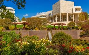 Картинка небо, солнце, деревья, цветы, дизайн, парк, здание, США, музей, Лос-Анджелес, кусты, Музей Гетти, Getty Museum