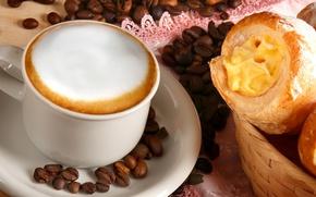 Картинка кофе, зерна, пирожное, пенка