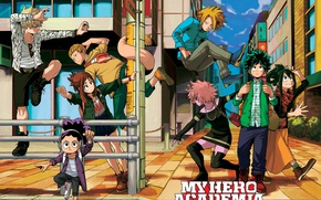 Обои anime, My Hero Academia, hero, powerful, Boku no Hero Academia, city, student, manga, strong, yuusha