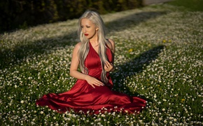 Картинка лицо, красное, модель, платье, блондинка, Adrijana
