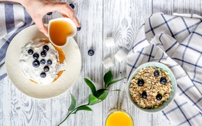 Картинка ягоды, завтрак, сок, блины, breakfast, мюсли, pancakes, сметана
