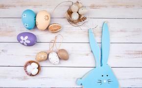 Картинка яйца, Пасха, wood, spring, Easter, eggs, bunny, decoration, Happy, tender