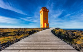 Картинка небо, маяк, дорожка, Исландия, настил