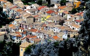 Картинка крыша, горы, Франция, дома, Пей, Прованс-Альпы-Лазурный Берег