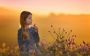 Картинка цветы, природа, девочка