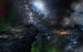 Обои небо, космос, горы, фантастика, человек, Iy Tujiki